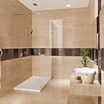 Lavaggio completo della superficie verticale del rivestimento bagno